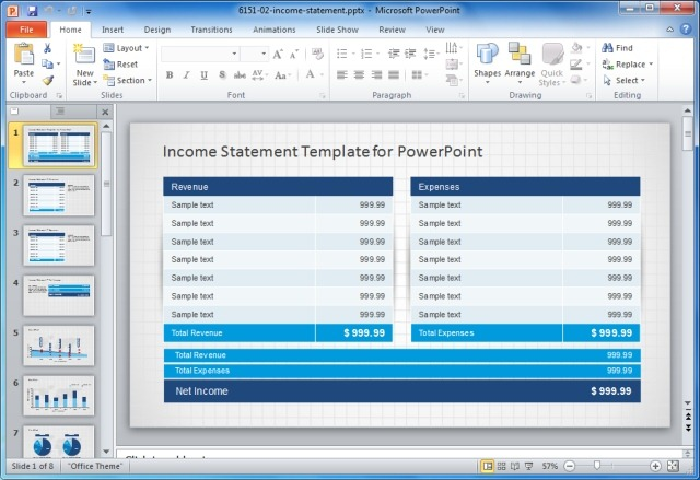 Income Statement PowerPoint Template