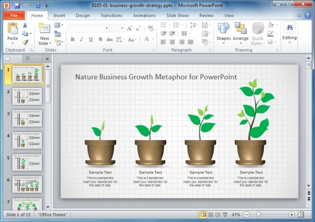 Nature Business Growth Metaphor Template For PowerPoint