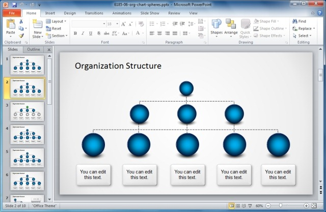 Organization Structure PowerPoint Template With Spheres
