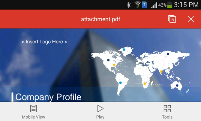 PowerPoint file converted to PDF for Android