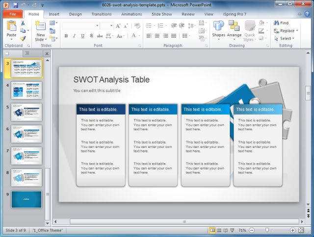 How to present swot analysis in powerpoint for Table design ppt
