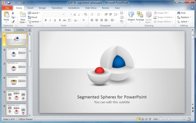 Segmented 3D Sphere Diagrams for PowerPoint