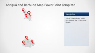 PowerPoint Map with Markers of Antigua and Barbuda