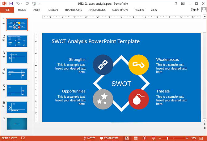 Swot analysis for PowerPoint presentations