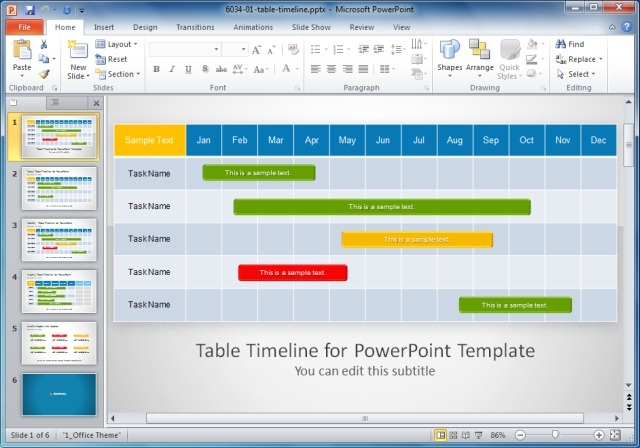 Table Timeline Powerpoint Templateg Slidemodel