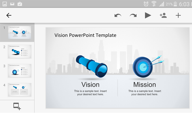 mission and vision PowerPoint template running on Android