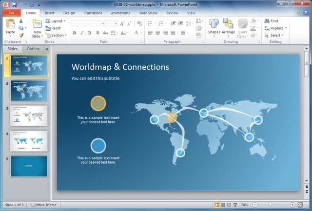 Using maps in powerpoint presentations world map and connections powerpoint template publicscrutiny Images