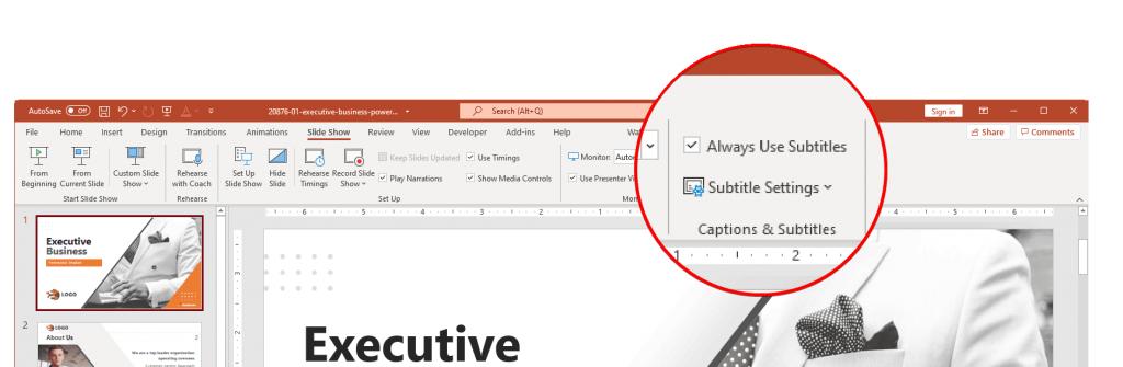 Always use Subtitles in PowerPoint