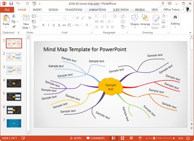Creative mind map template for microsoft for Mind map template powerpoint free download