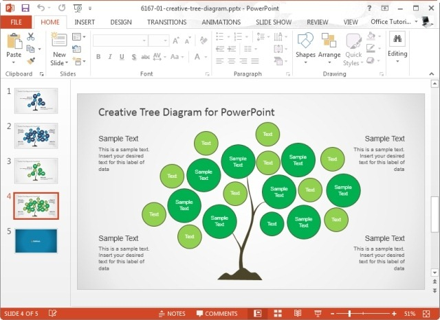 creative tree diagrams template for powerpoint