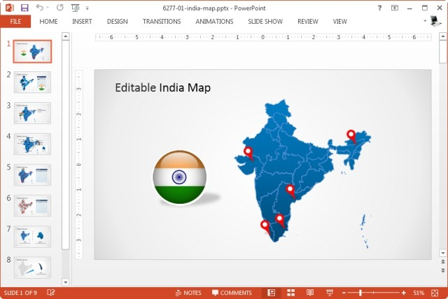Download editable powerpoint map for your country for India map ppt template