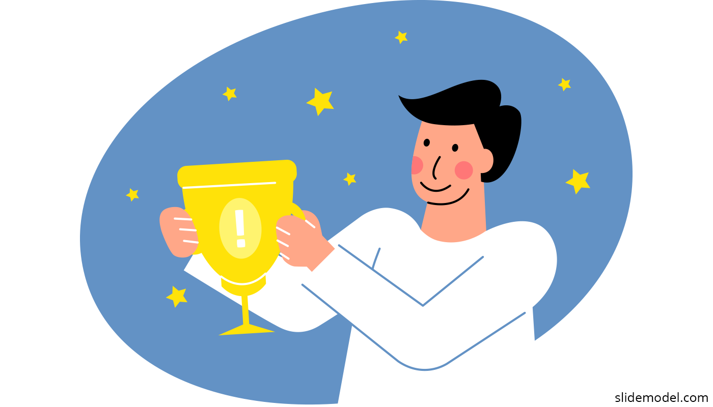 Employee Engagement at Workplace, an employee with a trophy (employee of the month)