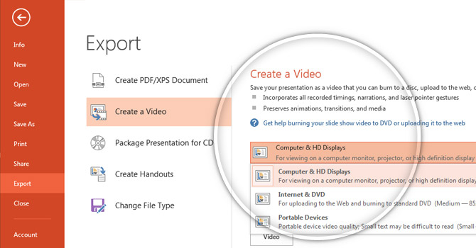 Create a Video from a PowerPoint file