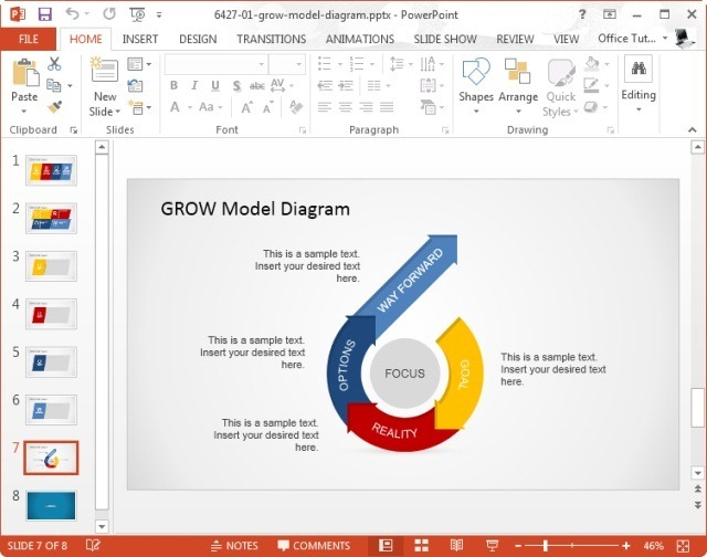 grow model diagram template for powerpoint