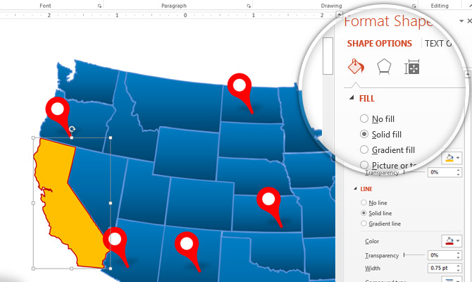 How to edit a US Map Template design