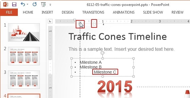 indent markers in powerpoint 2013
