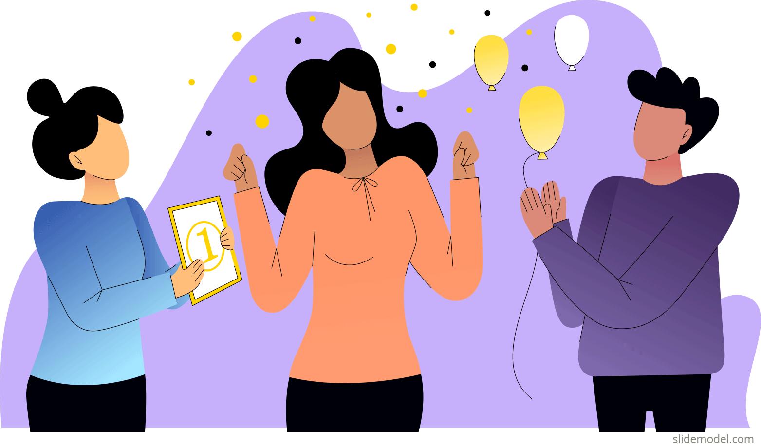 Intrinsic motivation illustration at workspace by SlideModel