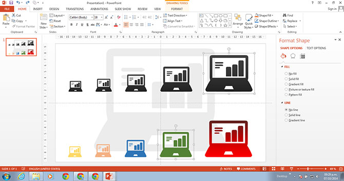 PowerPoint Laptop Icons featuring different sizes and colors
