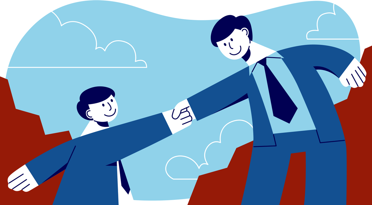 Illustration of a leader supporting an employee to grow