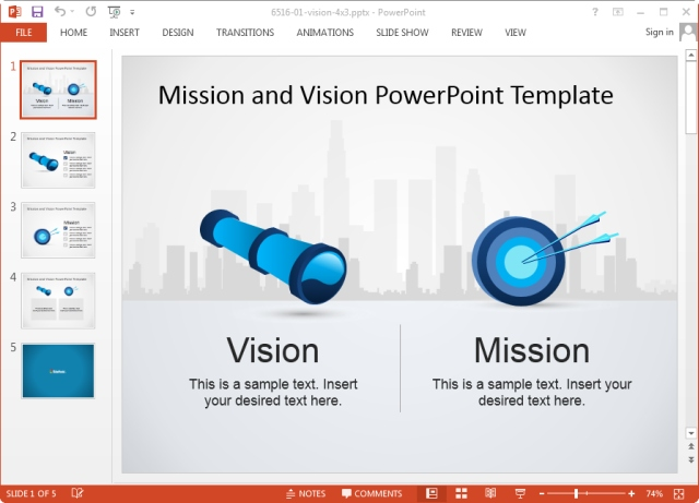 Vision and mission statement template for powerpoint for Vision statement template free