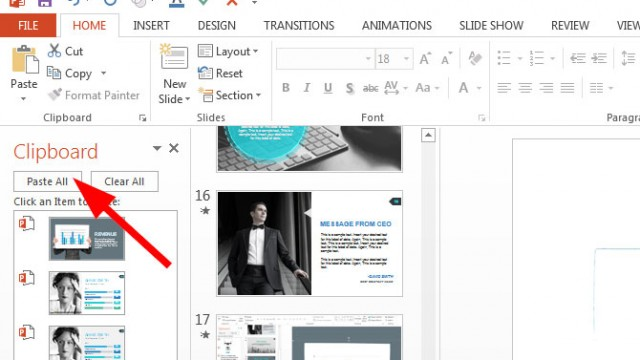 Using the Office Clipboard in PowerPoint 2013