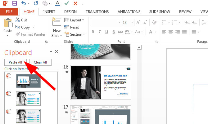 Using The Office Clipboard In Powerpoint 2013 Slidemodel