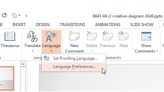 Review Ribbon Language Tab Set Proofing Language PowerPoint 2013