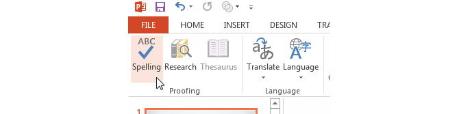 Spell Cheking in PowerPoint 2013