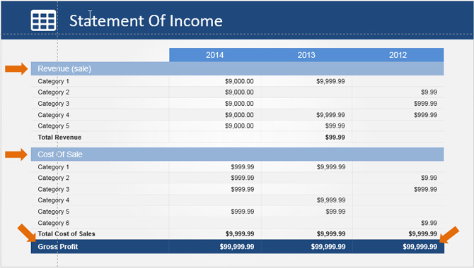 Income Statement PowerPoint Table