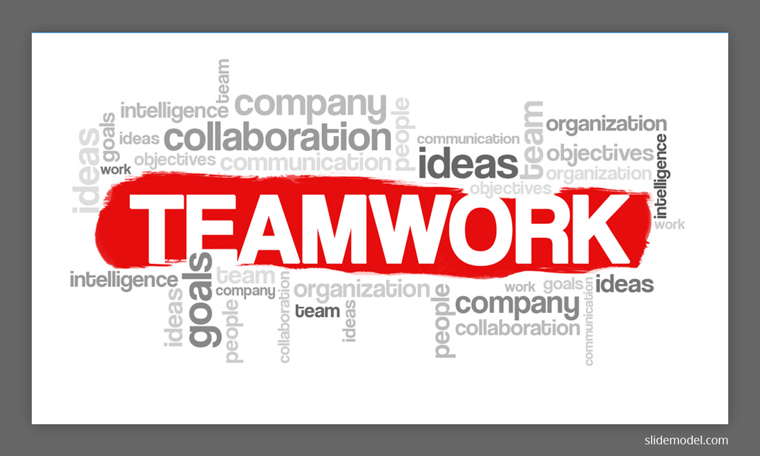 Teamwork Word Cloud Illustration PowerPoint template