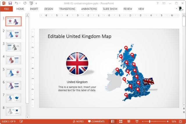 uk map template for powerpoint