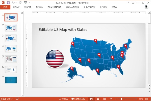 Download Editable PowerPoint Map For Your Country - Us map editable in powerpoint