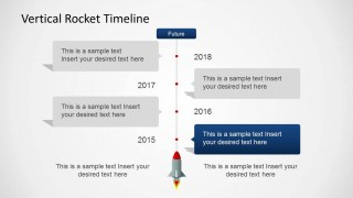 Four Years Vertical Timeline with Rocket for PowerPoint