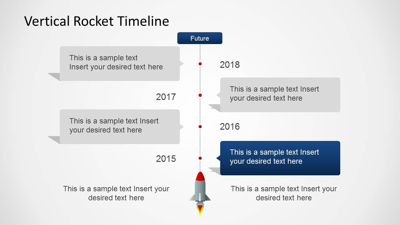 Amazing Four Years Vertical Timeline With Rocket For PowerPoint ...