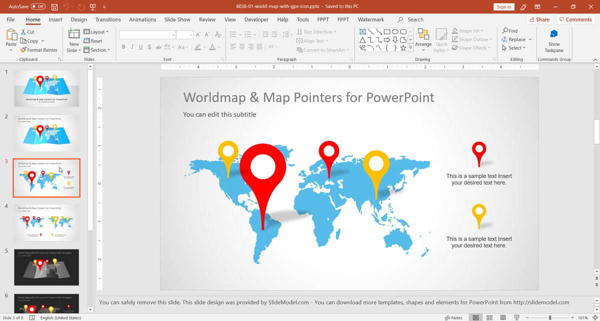 world map and map pointers for powerpoint